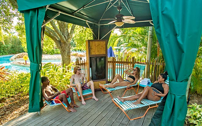 Private cabana at Roas Rapids located in Aquatica Orlando