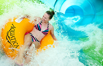 Experience Omaka Rocka, a water slide in which riders speed down flumes into massive funnels, sliding high up one side and then the other.
